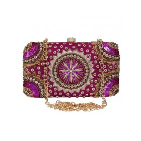 Anekaant Womens Adorn Magenta Embellished Clutch executive nice YHENYIE