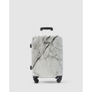 JETT BLACK Womens White Marble Carry On Suitcase White Grey Marble M85QP79M